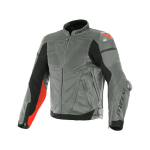 Куртка кожаная Dainese SUPER RACE CHARCOAL-GR/CH.-GR/FLUO-RED перф.