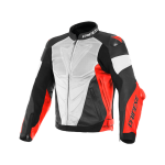 Куртка кожаная Dainese SUPER RACE 90C WH/FLU-RED/BL-MAT перф.